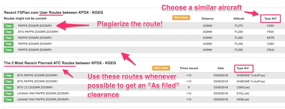 How to use user routes to flight plan