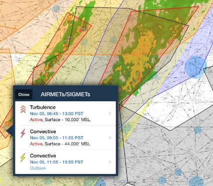 AIRMETs and SIGMETs on Foreflight
