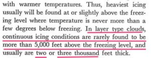 Article excerpt on how icing rarely lasts more than 5,000 feet