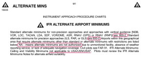 FAA IFR Alternate Airport Minimums