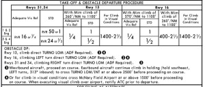 Jeppesen plate with take-off and obstacle departure procedures