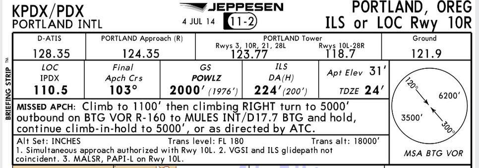 Example of Jeppesen briefing strip