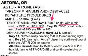 Alternate Takeoff minimums Astoria, OR