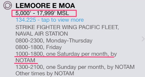 Lemoore E MOA hours and altitudes