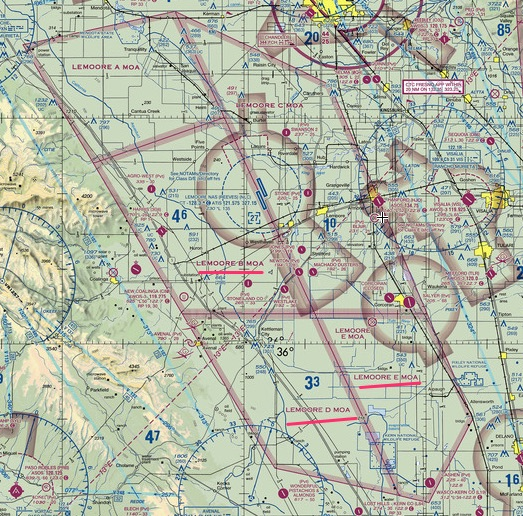 Lemoore Military Operations Area VFR sectional