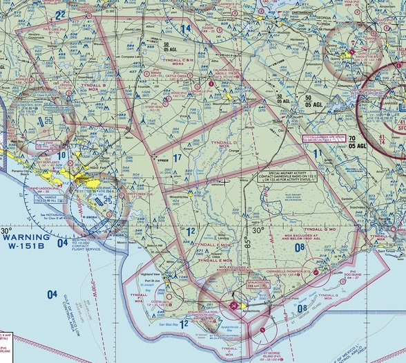 Tyndall Military Operations Area VFR sectional