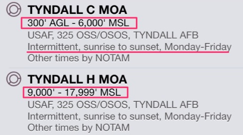 Tyndall Military Operations Area hours and altitudes