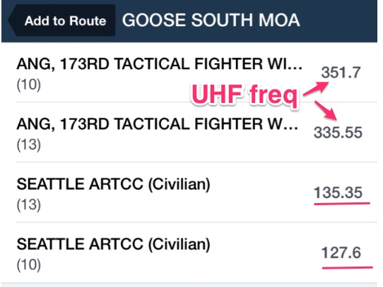 Goose South MOA frequencies