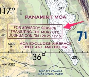 Military Operations Area VFR sectional information