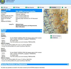 FAA detail page for TFR
