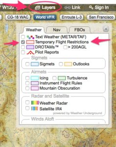 Skyvector TFR layer