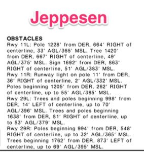 Jeppesen obstacle description