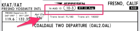 Jeppesen SID top of chart