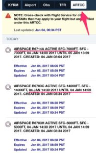 Foreflight ARTCC NOTAMs restricted area
