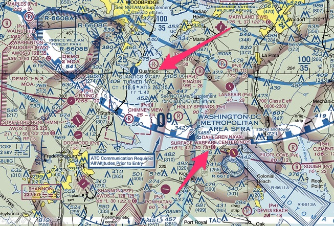 Virginia restricted airspace