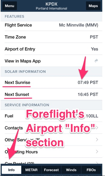 Foreflight sunrise sunset times