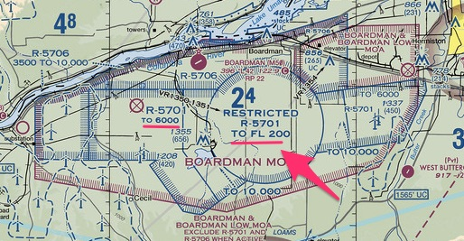 Boardman restricted airspace altitude restrictions