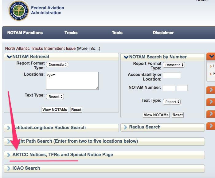FAA ARTCC NOTAMs