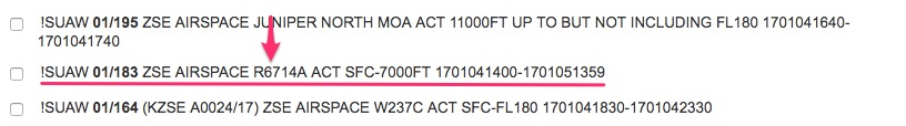 Restricted area notam