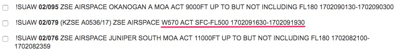 Warning area NOTAM