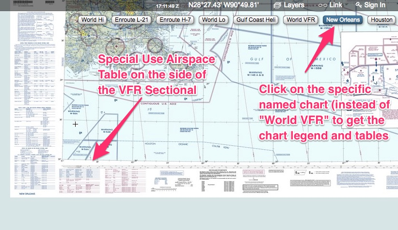 How to find the VFR sectional legend in Skyvector