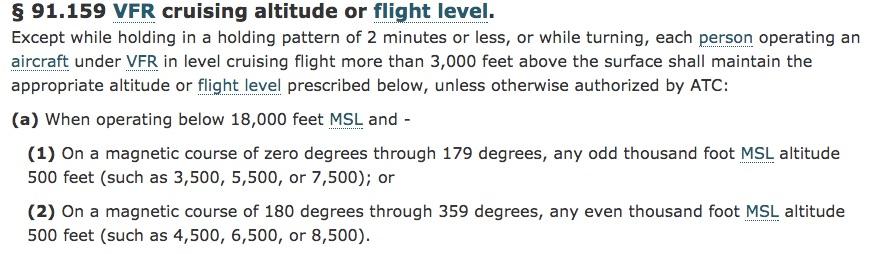CFR 91.159 VFR cruising altitudes or flight level