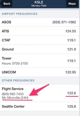 How to find the flight service station frequency on Foreflight