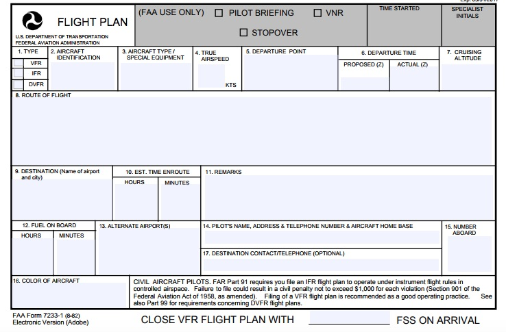FAA VFR Flight Plan Form