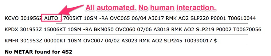 "What does the ""AUTO"" mean in a METAR?"